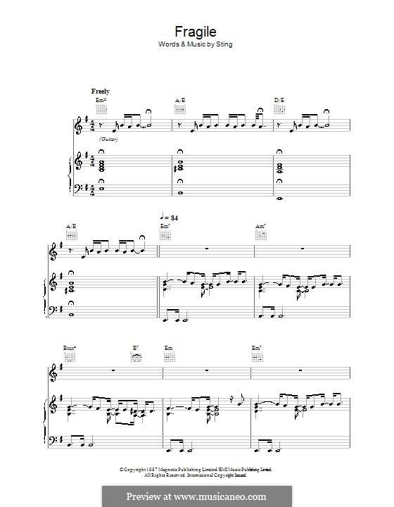 Fragile: Para vocais e piano (ou Guitarra) by Sting