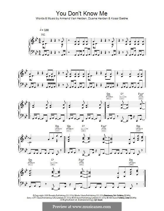 You Don't Know Me: Para vocais e piano (ou Guitarra) by Duane Harden, Kossi Gardner