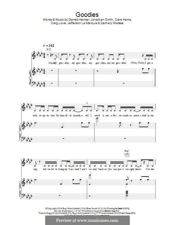 Goodies (Ciara): Para vocais e piano (ou Guitarra) by Ciara Harris, Craig Love, Garrett Hamler, Jefferson La Marquis, Jonathan Smith, Zachary Wallace
