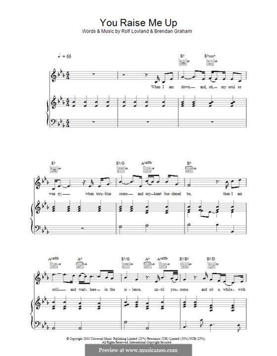 You Raise Me Up: Para vocais e piano (ou Guitarra) by Brendan Graham, Rolf Løvland