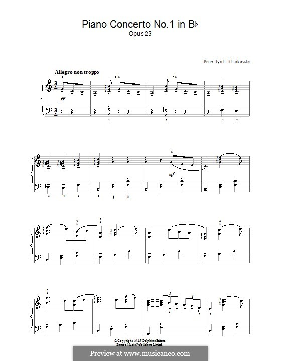 Concerto for Piano and Orchestra No.1 in B Flat Minor, TH 55 Op.23: Movimento I (Tema). Versão para piano by Pyotr Tchaikovsky