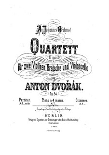 String Quartet No.9 in D Minor, B.75 Op.34: partitura completa by Antonín Dvořák