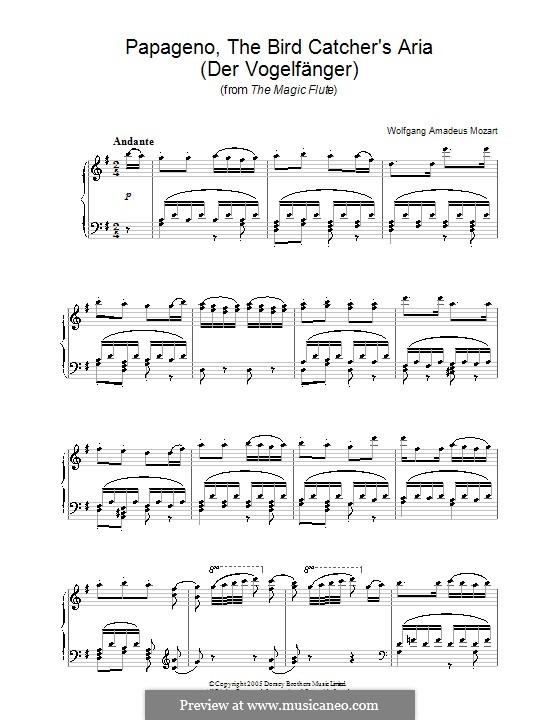 Papageno's Aria: Para Piano by Wolfgang Amadeus Mozart