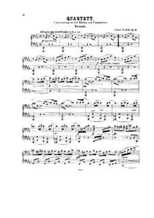 String Quartet No.10 in E Flat Major 'Slavonic', B.92 Op.51: versão para piano de quatro mãos by Antonín Dvořák