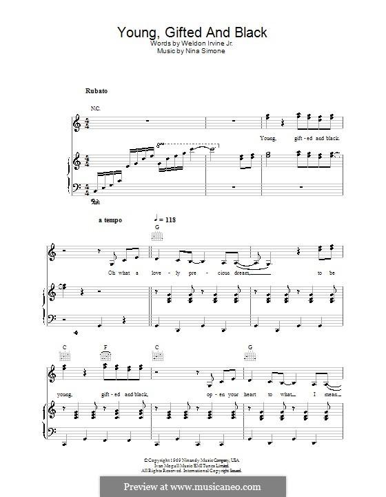 Young, Gifted and Black: Para vocais e piano (ou Guitarra) by Nina Simone