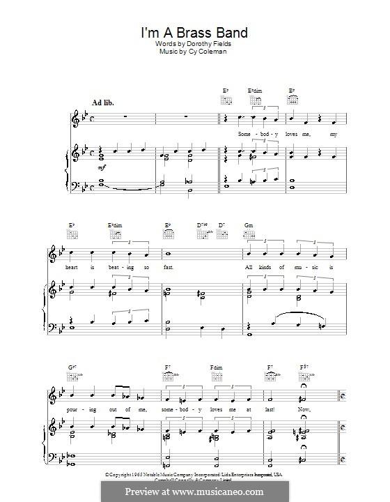 I'm a Brass Band: Para vocais e piano (ou Guitarra) by Cy Coleman