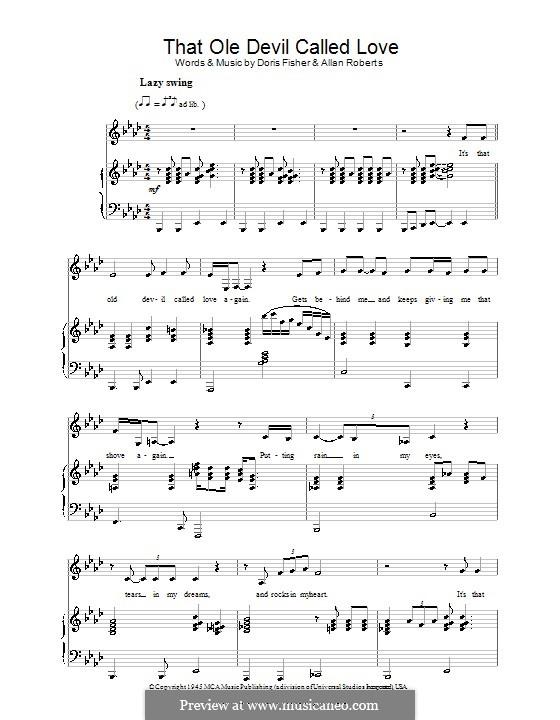 That Ole Devil Called Love (Diana Krall): Para vocais e piano by Allan Roberts, Doris Fisher