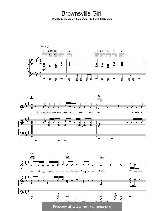 Brownsville Girl: Para vocais e piano (ou Guitarra) by Bob Dylan, Sam Sheppard