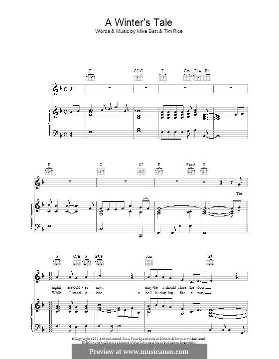 A Winter's Tale (David Essex): Para vocais e piano (ou Guitarra) by Mike Batt