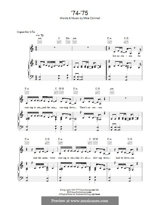 74-'75 (The Connells): Para vocais e piano (ou Guitarra) by Mike Connell
