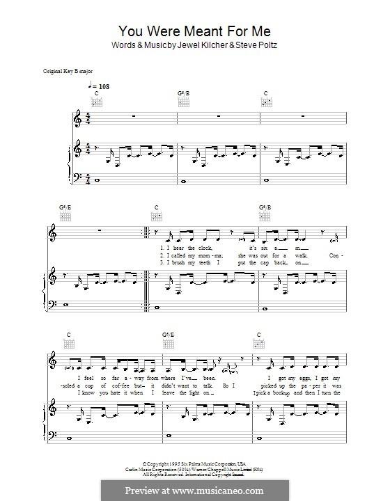 You Were Meant for Me (Jewel): Para vocais e piano (ou Guitarra) by Jewel Kilcher, Steve Poltz