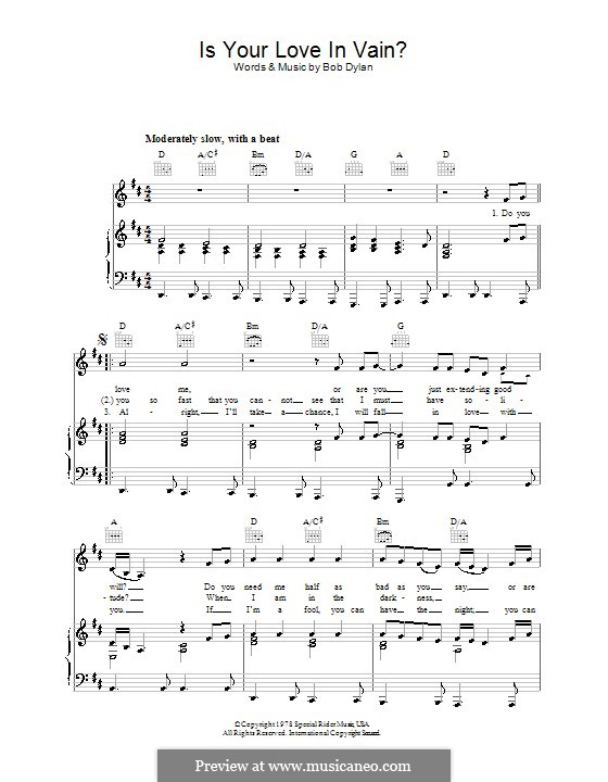 Is Your Love in Vain: Para vocais e piano (ou Guitarra) by Bob Dylan