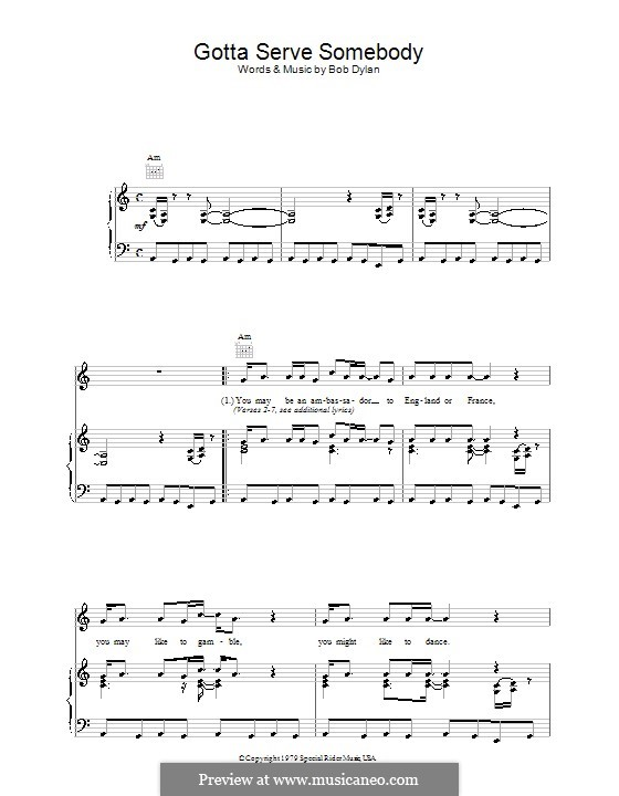 Gotta Serve Somebody: Para vocais e piano (ou Guitarra) by Bob Dylan