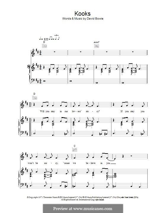 Kooks: Para vocais e piano (ou Guitarra) by David Bowie