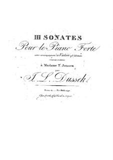 Three Sonatas for Piano and Violin ad libitum, Op.13 Craw 67-69: Three Sonatas for Piano and Violin ad libitum by Jan Ladislav Dussek