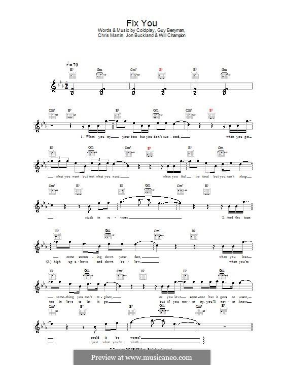 Fix You (Coldplay): melodía,letras e acordes by Chris Martin, Guy Berryman, Jonny Buckland, Will Champion