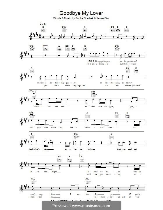 Goodbye My Lover: melodía,letras e acordes by James Blunt, Sacha Skarbek