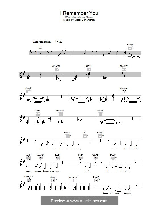 I Remember You (Diana Krall): melodía,letras e acordes by Victor Schertzinger