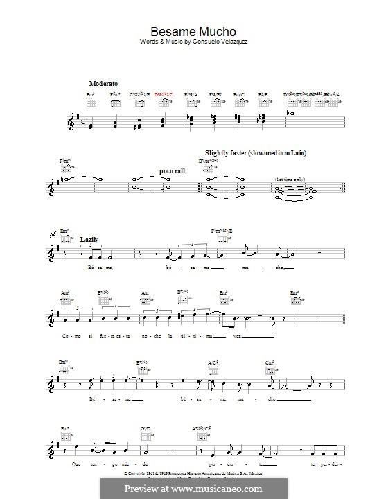 Besame Mucho (Kiss Me Much): melodía,letras e acordes by Consuelo Velazquez