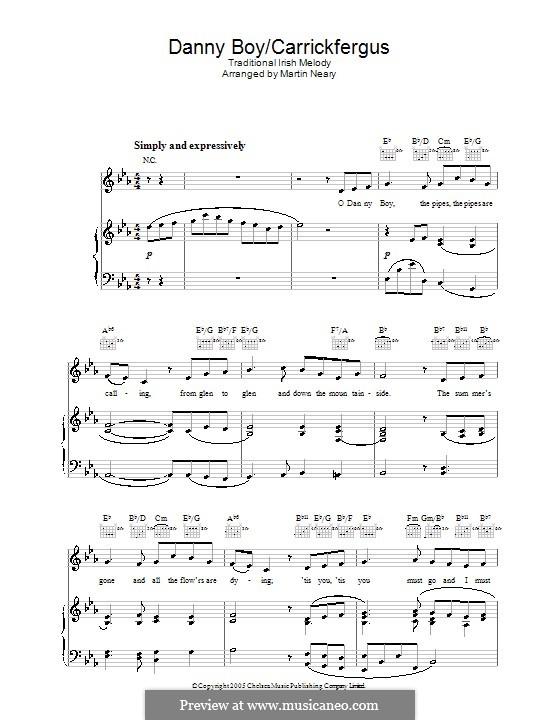 Danny Boy / Carrickfergus: Para vocais e piano (ou Guitarra) by folklore