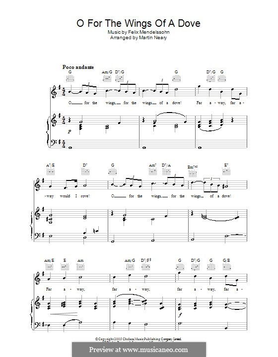 Hör mein Bitten (Hear My Prayer), WoO 15: O for the Wings of a Dove, for voice and piano (or guitar) by Felix Mendelssohn-Bartholdy