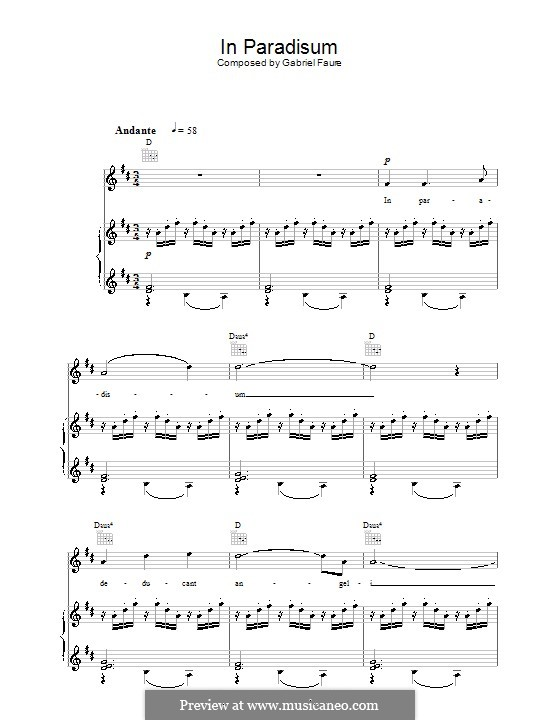 Requiem in D Minor, Op.48: Movement VII 'In Paradisum', for voice and piano (or guitar) by Gabriel Fauré