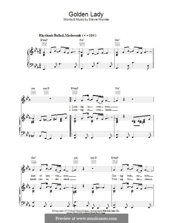 Golden Lady: Para vocais e piano (ou Guitarra) by Stevie Wonder