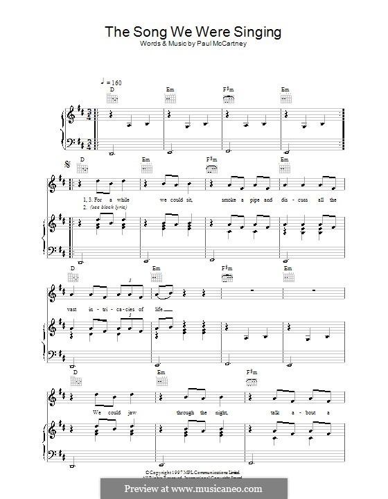 The Song We Were Singing: Para vocais e piano (ou Guitarra) by Paul McCartney