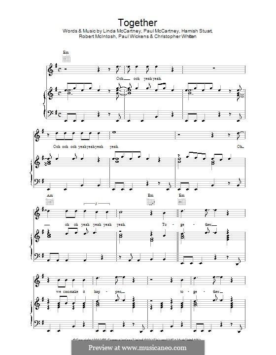 Together: Para vocais e piano (ou Guitarra) by Christopher Whitten, Hamish Stuart, Linda McCartney, Paul McCartney, Paul Wickens, Robert McIntosh