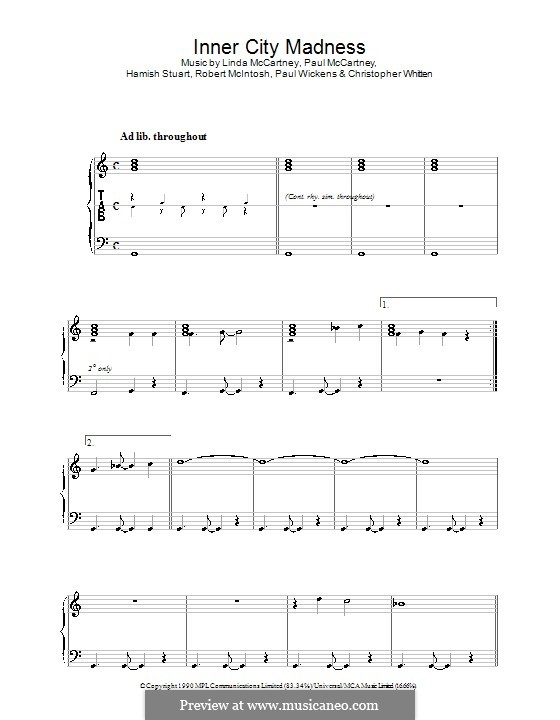 Inner City Madness: Para vocais e piano (ou Guitarra) by Christopher Whitten, Hamish Stuart, Linda McCartney, Paul McCartney, Paul Wickens, Robert McIntosh