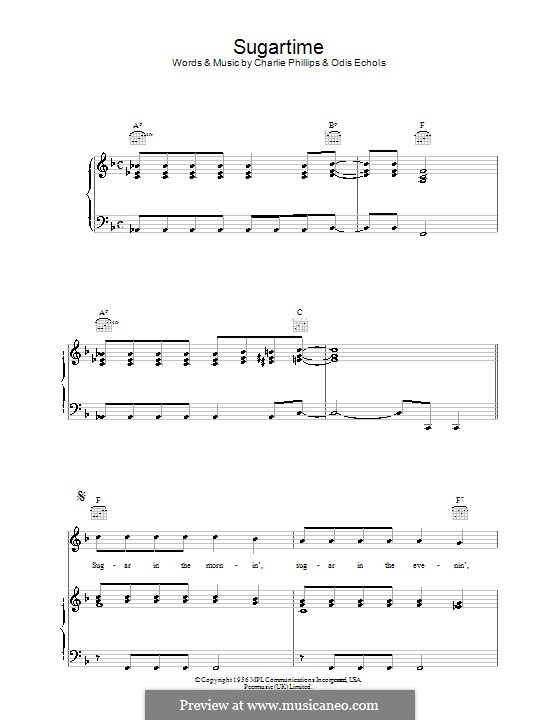 Sugartime: For voice and piano or guitar (Linda McCartney) by Charlie Phillips, Odis Echols
