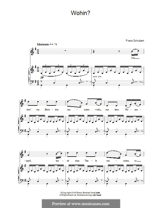 No.2 Wohin (Where to): Partitura Piano-vocal by Franz Schubert