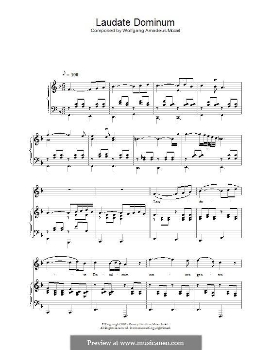 Vesperae solennes de confessore, K.339: Laudate Dominum, for voice and piano by Wolfgang Amadeus Mozart