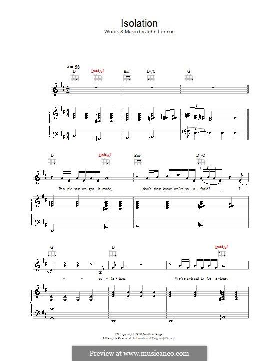 Isolation: Para vocais e piano (ou Guitarra) by John Lennon