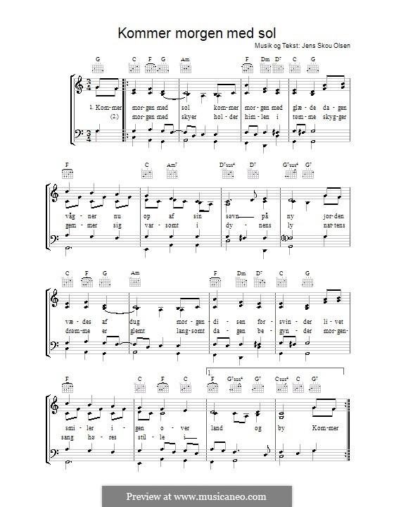 Kommer Morgen Med Sol: Para vocais e piano (ou Guitarra) by Jens Skou Olsen