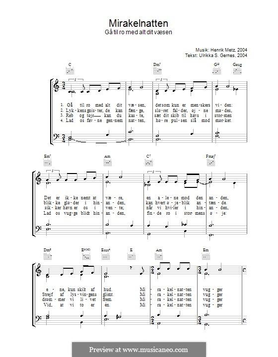 Mirakelnatten: Para vocais e piano (ou Guitarra) by Henrik Metz