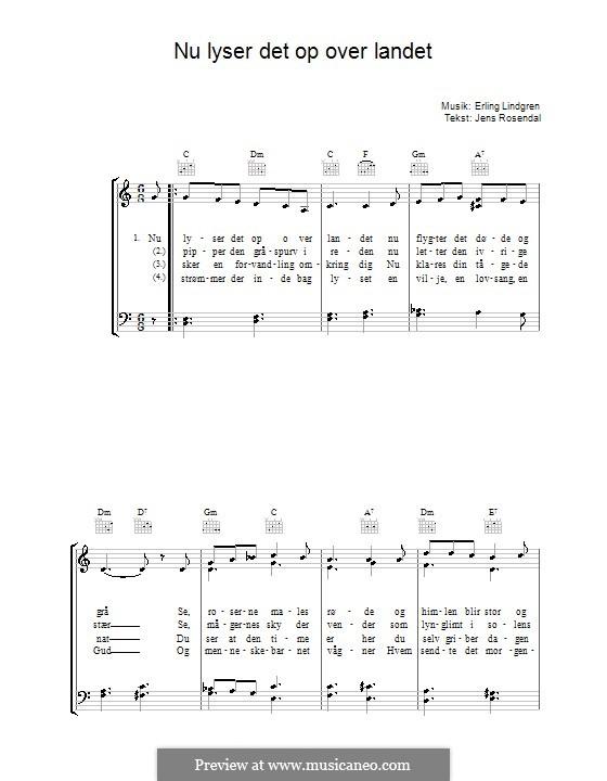 Nu Lyser Det Op Over Landet: Para vocais e piano (ou Guitarra) by Erling Lindgren