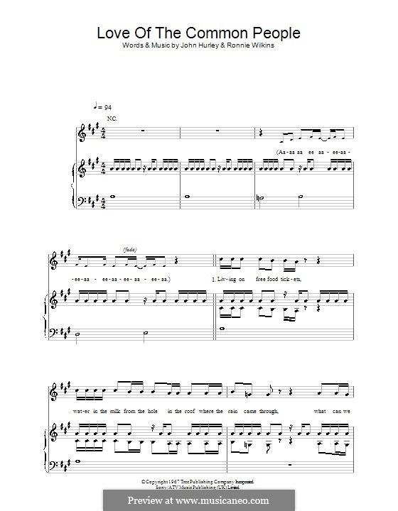 Love of the Common People: Para vocais e piano (ou Guitarra) by John Hurley, Ronnie Wilkins