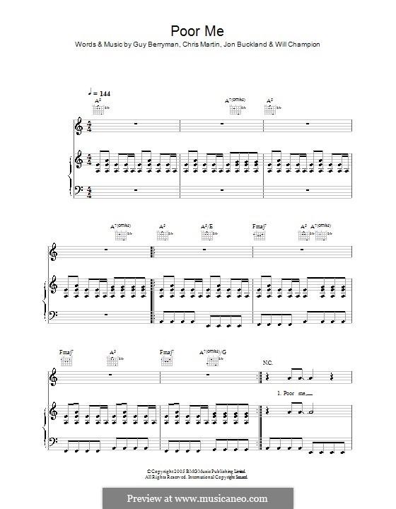 Poor Me (Coldplay): Para vocais e piano (ou Guitarra) by Chris Martin, Guy Berryman, Jonny Buckland, Will Champion
