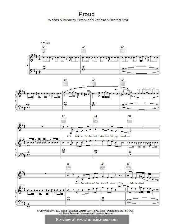 Proud: Para vocais e piano (ou Guitarra) by Heather Small, Peter-John Vettese