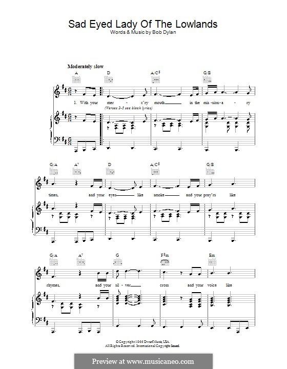 Sad Eyed Lady of the Lowlands: Para vocais e piano (ou Guitarra) by Bob Dylan