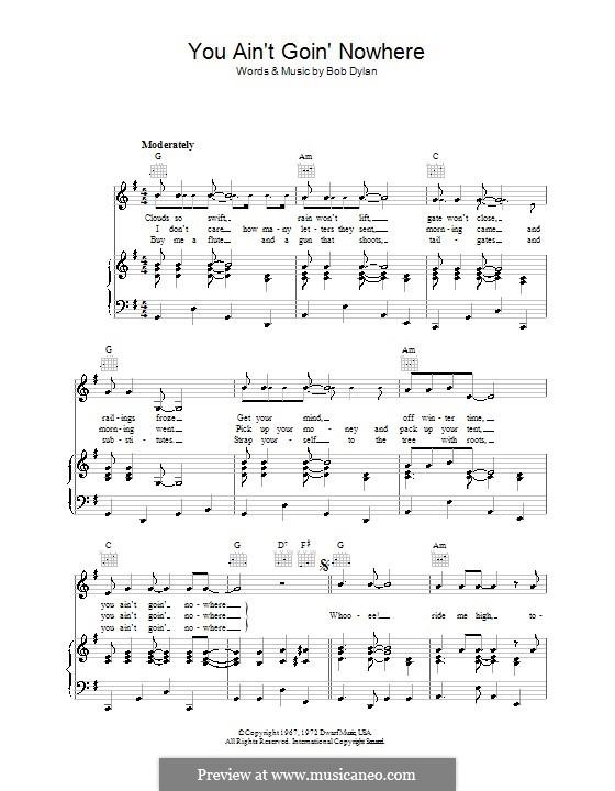 You Ain't Goin' Nowhere: Para vocais e piano (ou Guitarra) by Bob Dylan