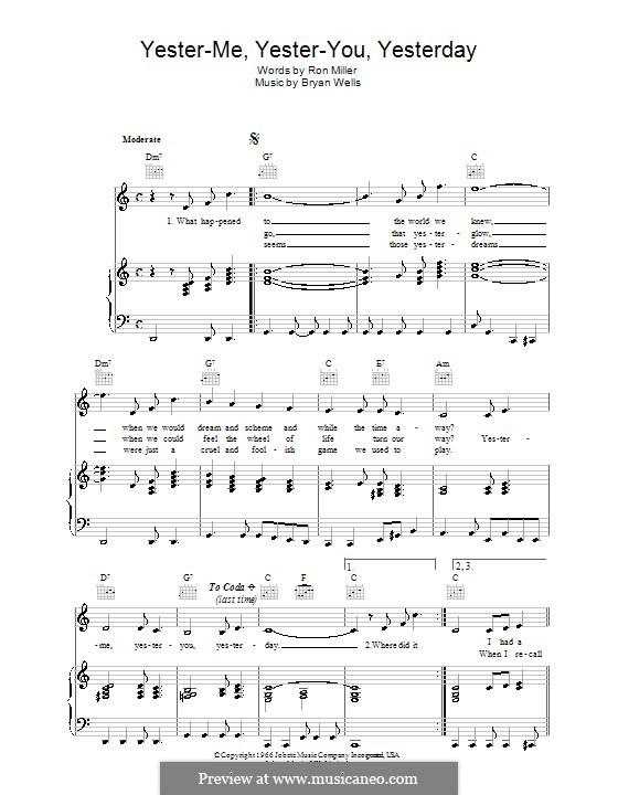 Yester-me, Yester-you, Yesterday: Para vocais e piano (ou Guitarra) by Bryan Wells