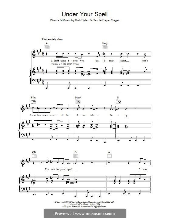 Under Your Spell: Para vocais e piano (ou Guitarra) by Carole Bayer Sager