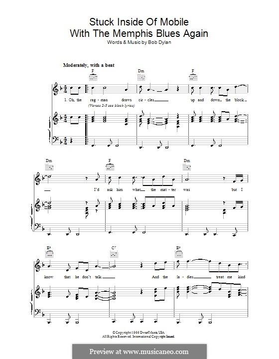 Stuck Inside of Mobile with the Memphis Blues Again: Para vocais e piano (ou Guitarra) by Bob Dylan