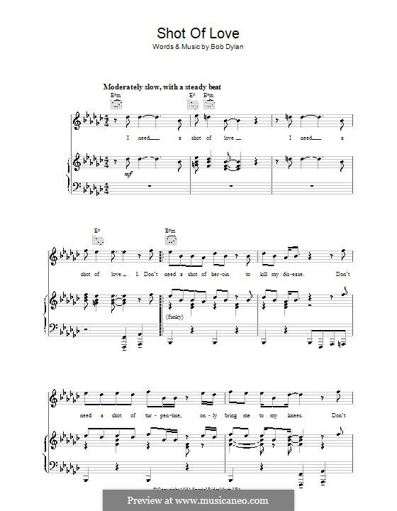 Shot of Love: Para vocais e piano (ou Guitarra) by Bob Dylan