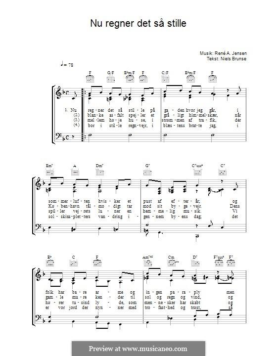 Nu Regner Det Så Stille: Para vocais e piano (ou Guitarra) by René A. Jensen