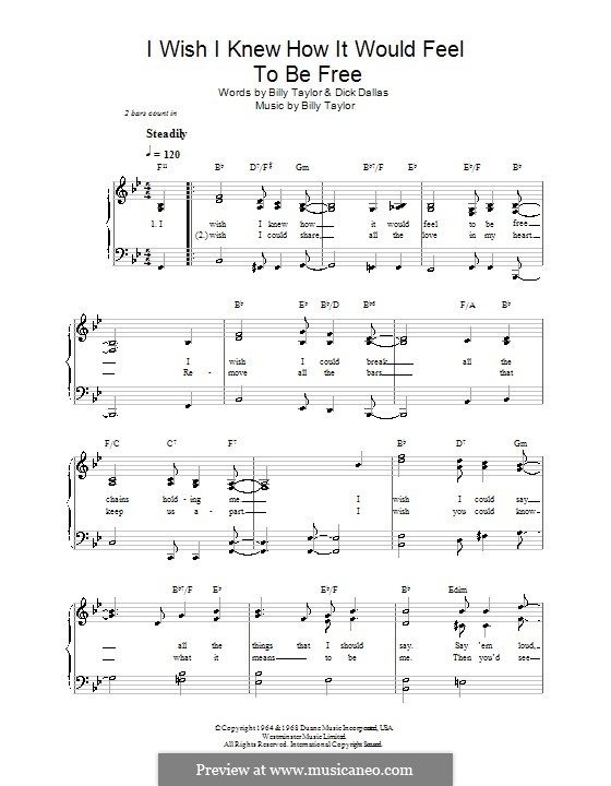I Wish I Knew How it Would Feel to Be Free: For easy piano with chords (Nina Simone) by Billy Taylor
