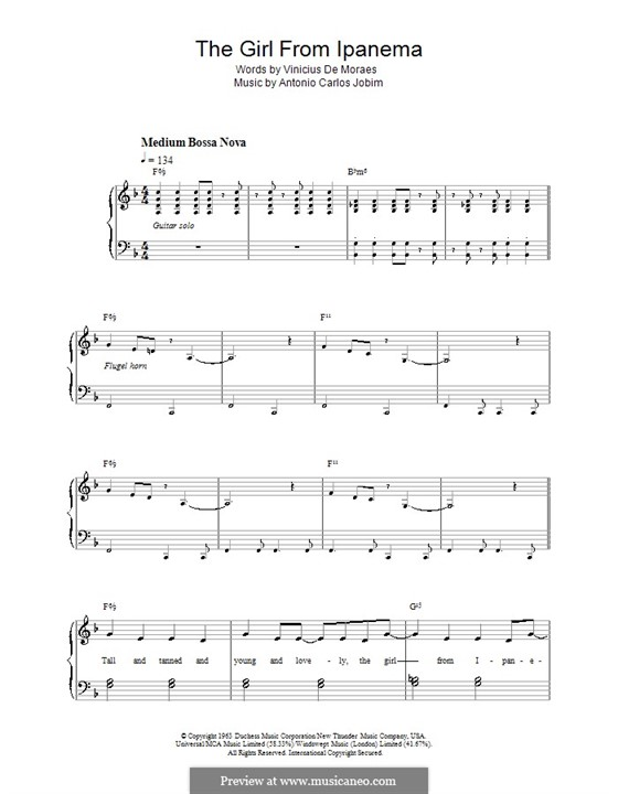 The Girl from Ipanema (Garota de Ipanema), for Piano: versão facil para piano by Antonio Carlos Jobim