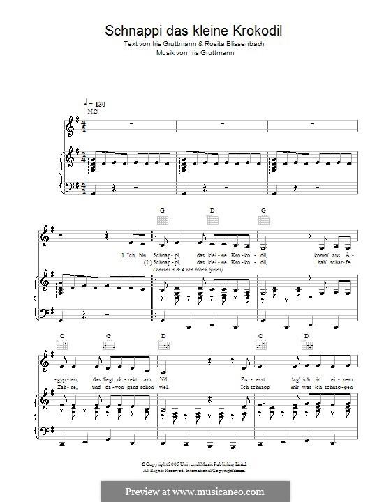 Schnappi das kleine Krokodil: Para vocais e piano (ou Guitarra) by Iris Gruttmann